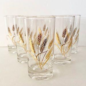 Vintage Homer Laughlin Wheat Drinking Glasses (6)